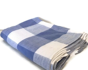 Blue and White Check Tablecloth a Large Cotton Linen by WesLyn Linens, Made in USA
