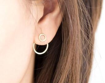 Tiny Hoop Ring Front Stud Circle Hoop Ring Ear Jacket Earrings, Silver / Gold, Double Hoop Geometric Jewelry, Bridesmaid Girlfriend Gift, de