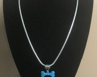 Enamel Polka Dot Dog Bone Charm Necklace - All profits go to charity