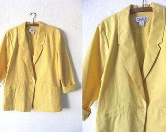 Pastel Yellow Lightweight Blazer - 90s Minimal Simple Basic Oversize Jacket - Womens Small