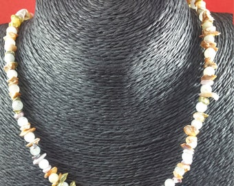 Aquamarine and Keishi Pearl Necklace