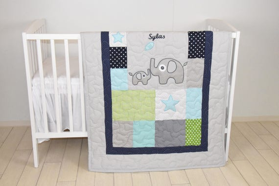 Elephant Quilt, Sports Baby Boy Blanket, Football Crib Bedding, Mint Navy Gray White