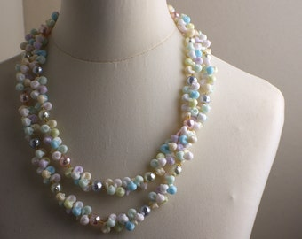 Very Long Length 1970s Pastel Coloured Plastic Seashell Beaded Necklace Kitsch