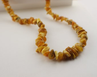 1960s Beaded Natural Mixed Color Amber Necklace Graduated Beads Includes Butterscotch Egg Yolk Color