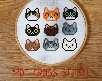 Cute cat faces cross stitch pattern - counted cross stitch, printable PDF