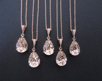 SET OF 3,4, 5, 6 -Rose Gold Bridesmaid Necklaces/Bridesmaid Jewelry/Swarovski Necklace/Bridal Jewelry/Rose Gold Jewelry Sets/Wedding Jewelry