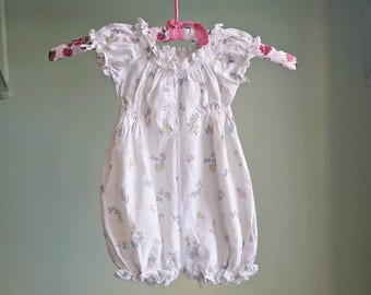 1950s Make Way For Ducklings Romper - Baby Girl One Piece Bubble - 6-12 MOS