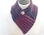 knit bandana scarf, purple neckwarmer, purple ombre scarf, knitted neckwarmer, knit cowl, cowl with button, gift for her, Winter accessories