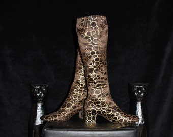 Gold Dust-60's Brown Satin and Gold Glitter Circles Knee High Golo Go-Go Boots