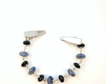 Sodalite and Onyx Sweater Clip