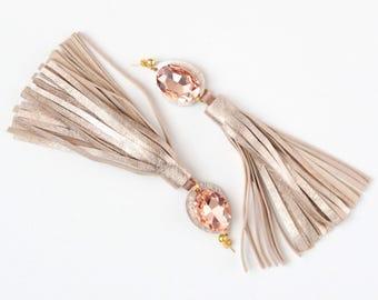 MIRACLE 28 / Long leather tassel earrings-statement earrings-leather fashion earrings-embroidered gemstones-fringe earrings- Ready to Ship