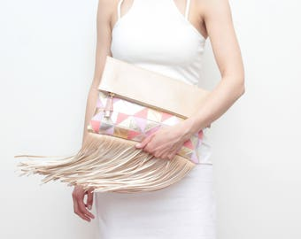 SALE / Large leather fringe bag.Geometric bag. Statement bag. Oversized purse. Metallic natural leather. Nude beige pink. /EDGY 4