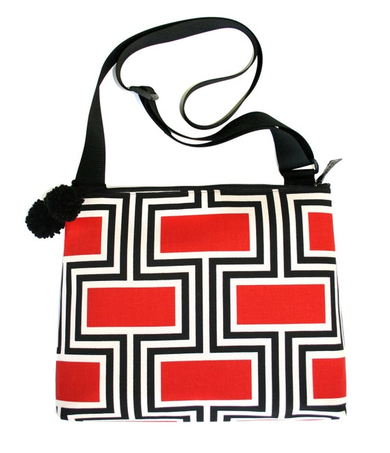 Red and black, geometric pattern, pom poms, large, cross body bag