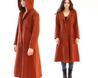 Vintage 60s 70s coat | burnt Orange hooded wool duster trench coat Jacket S