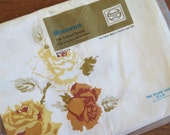 Vintage Pillowcase Pair - Orange & Yellow Roses by Stevens Utica Mohawk - Standard Size 100% Cotton Fine Combed Percale NIP