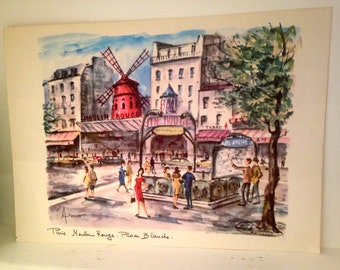 Chic Vintage Lithograph/ Arno MOULIN ROUGE Print, unframed