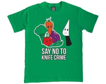 Say No to Knife Crime T-Shirt - Ladies & Mens Clothing - Funny T-Shirts - Vegetarians / Vegans - Green T-Shirt - Puns - Food with Faces