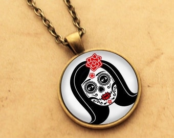 Sugar Skull Necklace - Catrina Pendant 2 Day of the Dead Rockabilly Pin-up Girl Cabochon Gothic Black Punk