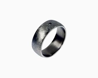 palladium wedding band, black diamond ring, mens wedding ring, modern palladium band, commitment ring, men diamond band, scratched, wide