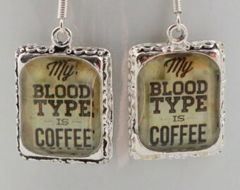 Coffee Quote Earrings Jewelry Silver 3D Dimensional Picture Earrings
