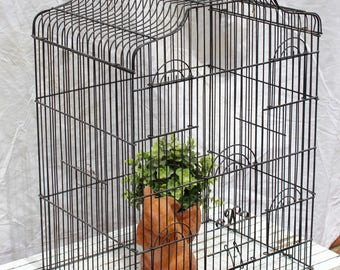 Vintage Bird Cage, Large Metal Cage, Wire Bird Cage, Wedding Cottage Decor
