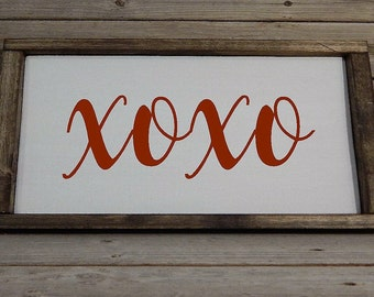 XOXO Valentine's day wood framed sign
