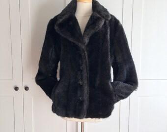 Vintage Faux Fur Liz Claiborne Jacket, Dark Brown Fur Jacket, Button up Jacket 90s