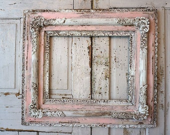 Distressed wood picture frame large white dirty pink wall hanging wide gesso wooden shabby cottage chic aged frame decor anita spero design