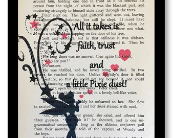 "Peter Pan & Wendy Book Page-""All it Takes is Faith, Trust and a Little Pixie Dust"" Tink Quotes TInkerbell Pixie Dust Print, Tinkerbell Quote"