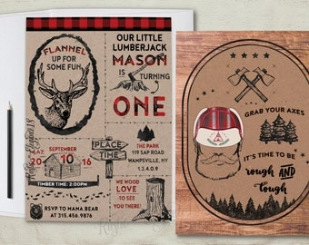 Lumberjack Invitation.Plaid Birthday Invite.Flannel Invite. Rustic Party.Lumberjack Party