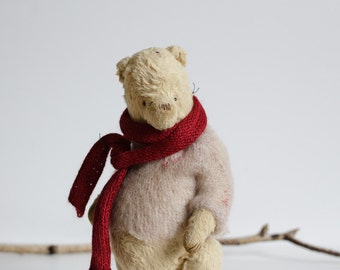 Made To Order Mohair Teddy Bear Knitted Scarf Pink Sweater Gift For Her Handmade Soft Toy Stuffed Animal 9 Inches Plush Teddy