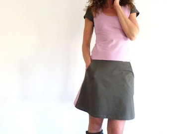 Dress with pockets, short-sleeved, taupe and grey pink