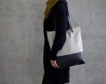 tote bag canvas fabric daybag gray sac leather strap large handmade plain
