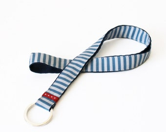 long lanyard blue white striped fabric, handmade keychain maritime, stripes