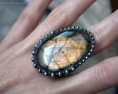 Gold Labradorite Eclipse Ring // Gold and Purple Labradorite Statement Ring