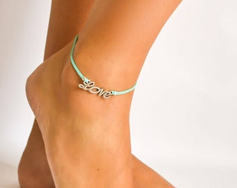Love anklet, dainty turquoise cord ankle bracelet, silver love charm turquoise bracelet, gift for her, beach jewelry minimalist, adjustable