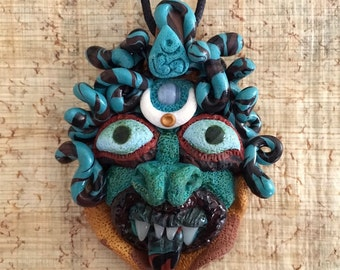 Medusa Gorgon Doll Head Pendant with Agate and OM symbol