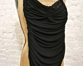 80s Norma Kamali Black Bill Mio Ruched Halter Swimsuit - Small - Vintage