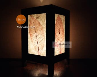 Asian Oriental Handcraft Red Leaves Zen Art Bedside Floor Table Lamp Desk Paper Light Shades Living Bedroom Furniture Home Decor