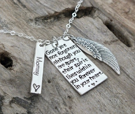 Hand Stamped Sympathy Gift Jewelry / Detailed Wing/ Gone Yet Not Forgotten /  Sterling Silver Personalized Memorial Necklace