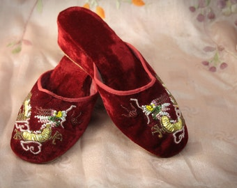Pair Vintage Chinese VELVET Beaded DRAGON Mules - Slippers - Shoes - 6.5