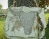 Large Shoulder Bag with Animal Skull ,Leather and Lace