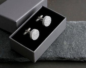 1st Anniversary gift for Husband, Personalised Paper Cufflinks, Custom Engraving