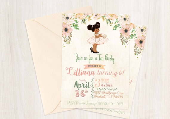 Vintage Tea Party Birthday Invitations, Cute Birthday, Girl Birthday Invitations, Tea Party, Printable Invitation, African American 044