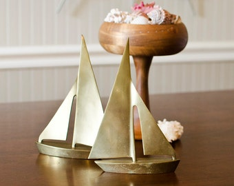 Brass Sailboat Pair - Nautical Sailing Boat Figural Art, Paperweights - Vintage Lake House Home Decor