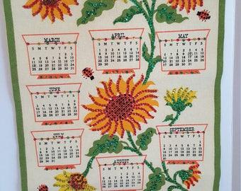 Vintage 1973 Hanging Wall Calendar Sequins Felt Green Yellow Cheery