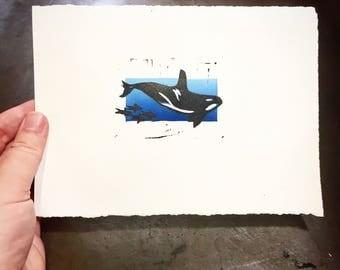 "Orca Whale - Original Multi-block Linocut Print - 5x7"""