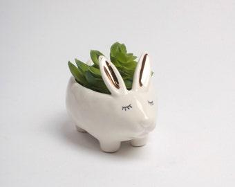 White + Gold Bunny Vase - Ceramic Rabbit Planter - White Faux Taxidermy - Bud Vase - Animal Planter - Bunny Nursery Art - Woodland Creatures