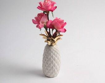 Pineapple Vase - Natural + Gold Ceramic Pineapple Decor - Decorative Pineapple - Pineapple Figurine - Table Top Decor - Bud Vase - Planter