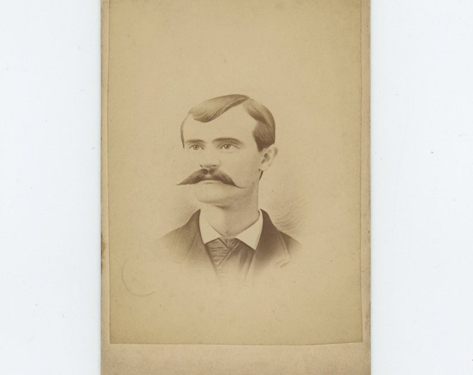 Victorian Cabinet Card 1800s: Young Man with Mustache, W.F. Geer Studio, Canton, OH (71549)
